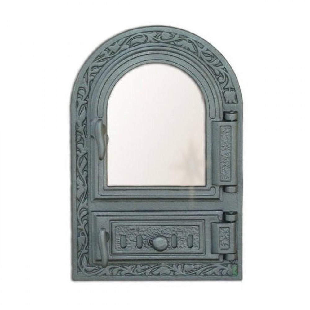 H0309 Дверца со стеклом и зольником с шибером FPM1R 485х325