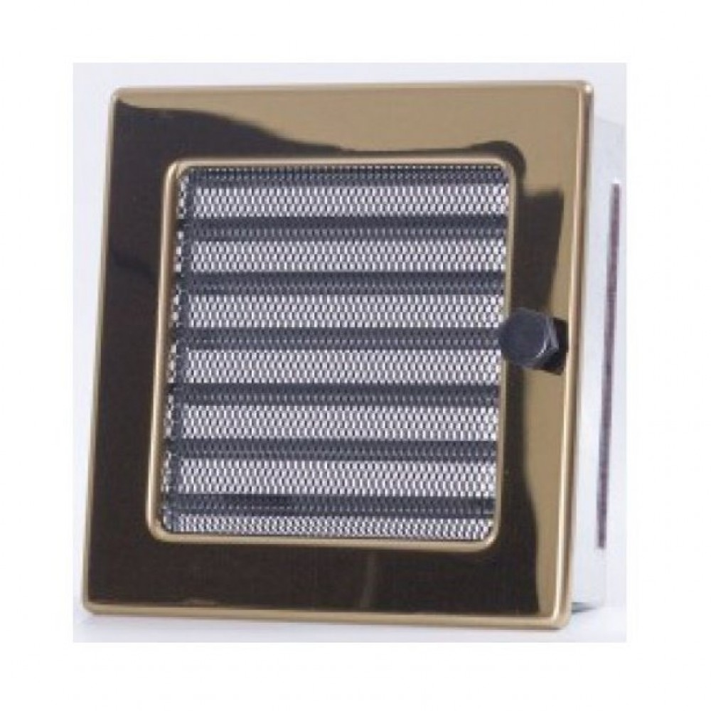 Вентиляционная каминная решетка золото с жалюзи 170х170 Kratki