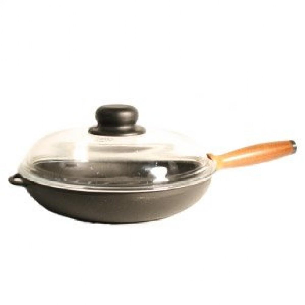 Сковорода «Ситон» с дер. ручкой и стеклянной крышкой