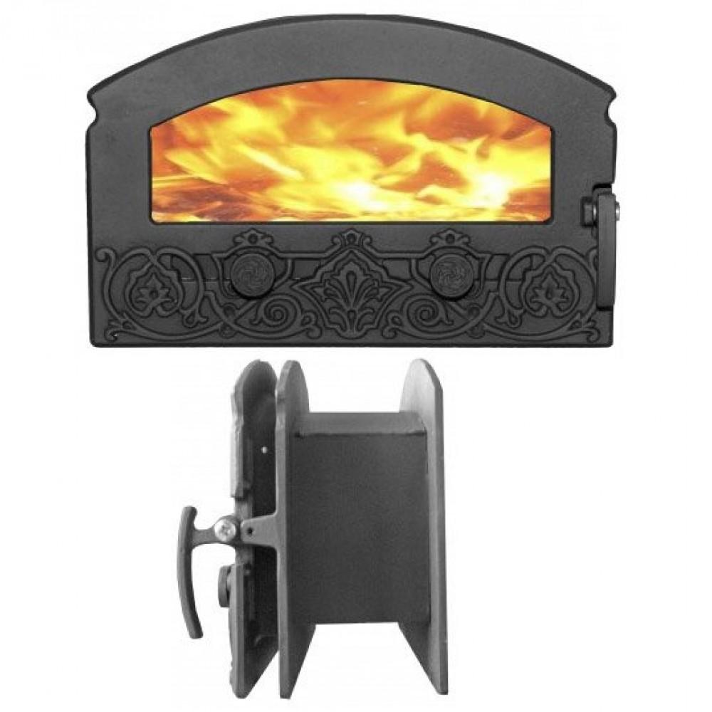 Дверка «Зной» со стеклом и задней рамкой крашеная ДКГ-5С