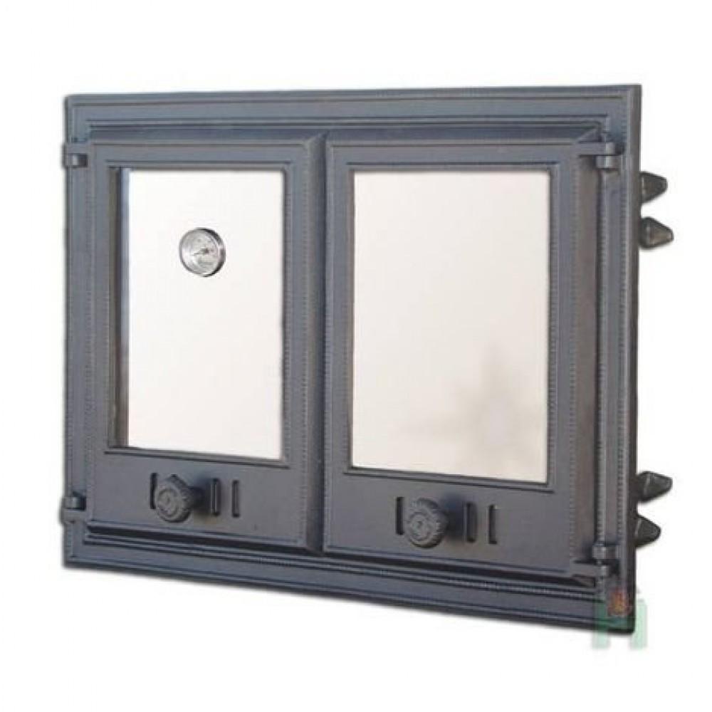 H1104 Дверца двустворчатая со стеклом и термометром DCHP