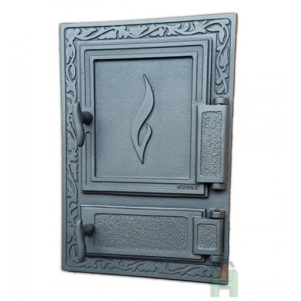 H1513 Дверца глухая правая с зольником DW12 (Пламя)